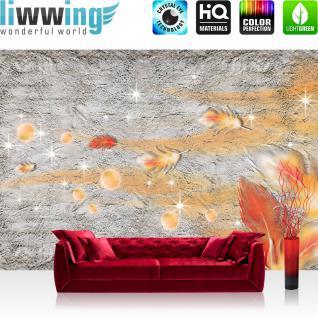 liwwing Vlies Fototapete 400x280 cm PREMIUM PLUS Wand Foto Tapete Wand Bild Vliestapete - Ornamente Tapete Abstrakt Perle Feder Stern Steinoptik orange - no. 853