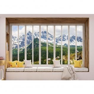Fototapete Berge Tapete Alpen, Karpaten, Riesengebirge, Schnee, Fenster natural | no. 3430
