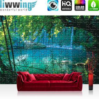 liwwing Fototapete 368x254cm PREMIUM Wand Foto Tapete Wand Bild Papiertapete - Wald Tapete Puzzle See Wasserfall Laubwald grün - no. 3244