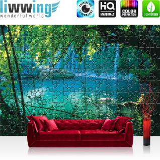 liwwing Vlies Fototapete 312x219cm PREMIUM PLUS Wand Foto Tapete Wand Bild Vliestapete - Wald Tapete Puzzle See Wasserfall Laubwald grün - no. 3244