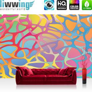 liwwing Fototapete 368x254 cm PREMIUM Wand Foto Tapete Wand Bild Papiertapete - Illustrationen Tapete Abstrakt Ornamente Geflechte Muster Retro Achtziger gelb - no. 1033