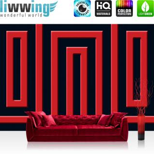 liwwing Vlies Fototapete 416x254cm PREMIUM PLUS Wand Foto Tapete Wand Bild Vliestapete - Kunst Tapete Abstrakt Linien Vierecke rot - no. 2193