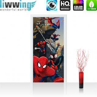liwwing Vlies Türtapete 91x211 cm PREMIUM PLUS Tür Fototapete Türposter Türpanel Foto Tapete Bild - MARVEL Spiderman Kindertapete Comic - no. 319
