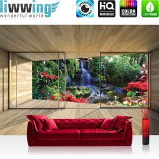 liwwing Vlies Fototapete 208x146cm PREMIUM PLUS Wand Foto Tapete Wand Bild Vliestapete - Wasser Tapete Holz Raum Ausblick Wasserfall Pflanzen Tropisch bunt - no. 1895