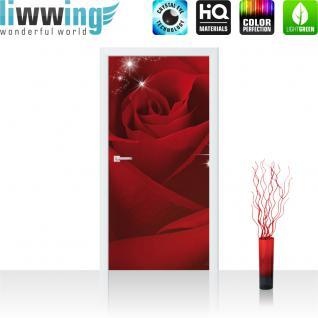 liwwing Vlies Türtapete 91x211 cm PREMIUM PLUS Tür Fototapete Türposter Türpanel Foto Tapete Bild - Abstrakt Blüten - no. 1105