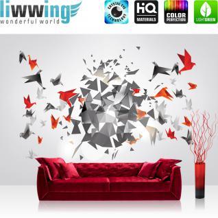 liwwing Vlies Fototapete 300x210 cm PREMIUM PLUS Wand Foto Tapete Wand Bild Vliestapete - Kunst Tapete Origami Japan Vögel Modern Art weiß - no. 608