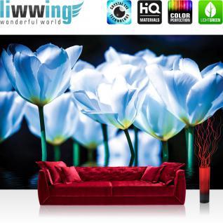 liwwing Vlies Fototapete 416x254cm PREMIUM PLUS Wand Foto Tapete Wand Bild Vliestapete - Blumen Tapete Blüten Blätter Wasser Kunst blau - no. 2860