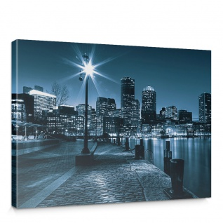 Leinwandbild Laterne Nacht New York Skyline Lichter Fluss | no. 856