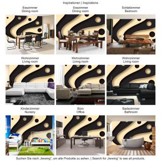 liwwing Fototapete 368x254 cm PREMIUM Wand Foto Tapete Wand Bild Papiertapete - 3D Tapete Abstrakt Streifen Kreise Fächer Design Kunst Muster 3D schwarz - no. 808 - Vorschau 5