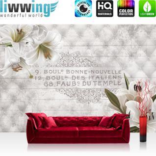 liwwing Vlies Fototapete 254x184cm PREMIUM PLUS Wand Foto Tapete Wand Bild Vliestapete - Orchideen Tapete Blüten Ornamente Steppmuster französisch weiß - no. 3194