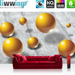 liwwing Vlies Fototapete 416x254cm PREMIUM PLUS Wand Foto Tapete Wand Bild Vliestapete - Holz Tapete Holzoptik Kugeln Schatten grau - no. 2906