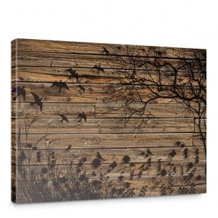 Leinwandbild Holzwand Holzoptik Holz Schatten Malerei Baum Gras Vögel | no. 2050