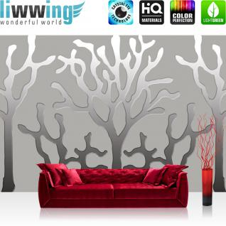 liwwing Fototapete 254x168 cm PREMIUM Wand Foto Tapete Wand Bild Papiertapete - Kunst Tapete Abstrakt Kunst Bäume Korallen Muster Design grau - no. 1948