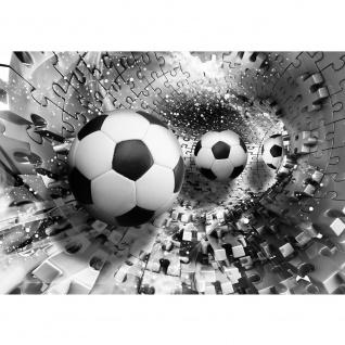 Fototapete Fußball Tapete Abstrakt Fußball Rechteck Puzzle Tunnel schwarz - weiß | no. 979