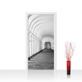 Türtapete - Arkaden 3D Perspektive Gewölbe Säulen Steinwand | no. 224