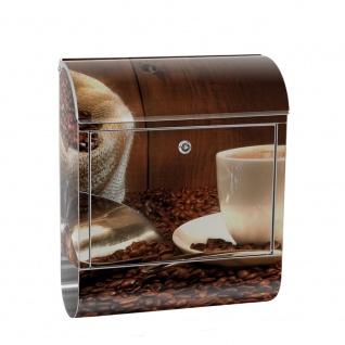 Edelstahl Wandbriefkasten XXL mit Motiv & Zeitungsrolle | Kaffeetasse Kaffeebohnen Tasse Löffel Holz | no. 0866