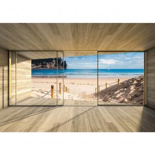 Fototapete Holz Tapete Holzoptik Rahmen Fenster Meer Strand Himmel beige | no. 2538