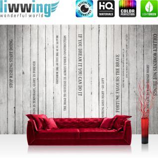 liwwing Vlies Fototapete 400x280 cm PREMIUM PLUS Wand Foto Tapete Wand Bild Vliestapete - WORDS ON WOODEN WALL no.2 - Holzoptik Holzwand Panel mit Text weißes Holz Brett - no. 125