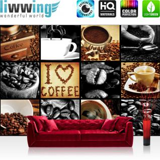 liwwing Vlies Fototapete 254x184cm PREMIUM PLUS Wand Foto Tapete Wand Bild Vliestapete - Kulinarisches Tapete Kaffee Barista Bohnen Rahmen schwarz - weiß - no. 3280
