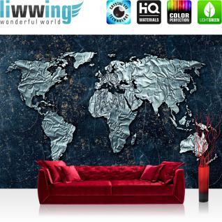 liwwing Vlies Fototapete 312x219cm PREMIUM PLUS Wand Foto Tapete Wand Bild Vliestapete - Welt Tapete Weltkarte metallic Metall Silber blau - no. 3295