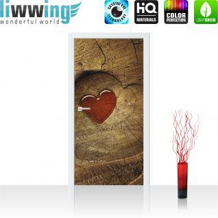 liwwing Türtapete selbstklebend 91x211 cm PREMIUM PLUS Tür Fototapete Türposter Türpanel Foto Tapete Bild - Holz Herz - no. 332