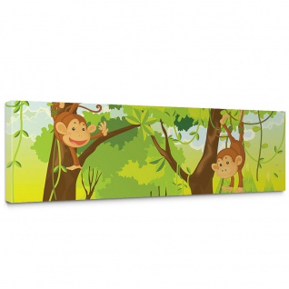 Leinwandbild Jungle Animals Monkeys Kinderzimmer Safari Comic Affen Dschungel | no. 94