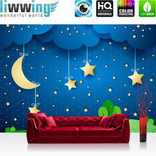 liwwing Vlies Fototapete 350x245 cm PREMIUM PLUS Wand Foto Tapete Wand Bild Vliestapete - DREAMING NIGHT - Kindertapete Sternenhimmel Stars Sterne Leuchtsterne Nachthimmel Mond - no. 120