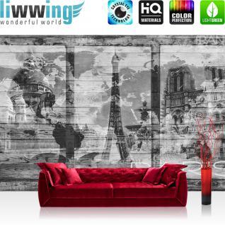 liwwing Vlies Fototapete 416x254cm PREMIUM PLUS Wand Foto Tapete Wand Bild Vliestapete - Holz Tapete Holzwand Holzoptik Holz Paris Schrift Eifelturm Notre Dame grau - no. 2500