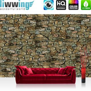 liwwing Vlies Fototapete 350x245 cm PREMIUM PLUS Wand Foto Tapete Wand Bild Vliestapete - Steinwand Tapete Steinmauer Steinwand Steinoptik Muster grau braun braun - no. 1146