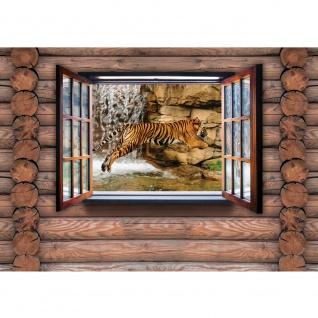Fototapete Holz Tapete Holzwand Holzoptik Holz Fenster Tiger Wasserfall Katze braun | no. 2453