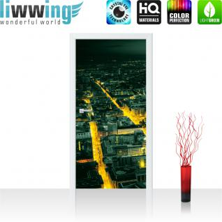 liwwing Türtapete selbstklebend 91x211 cm PREMIUM PLUS Tür Fototapete Türposter Türpanel Foto Tapete Bild - Panorama Skyline Häuser Straßen - no. 955