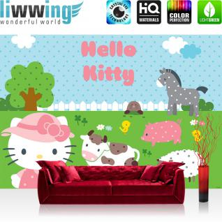 liwwing Vlies Fototapete 350x245 cm PREMIUM PLUS Wand Foto Tapete Wand Bild Vliestapete - Mädchen Tapete Hello Kitty - Kindertapete Cartoon Katze Esel Kuh Huhn Schaf Bauernhof blau - no. 520