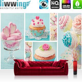 liwwing Fototapete 254x168 cm PREMIUM Wand Foto Tapete Wand Bild Papiertapete - Speisen Tapete Cupcake Herz Rose Marshmallow rosa - no. 411