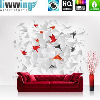 liwwing Vlies Fototapete 416x254cm PREMIUM PLUS Wand Foto Tapete Wand Bild Vliestapete - Illustrationen Tapete Illustration Vögel Papier weiß - no. 1848