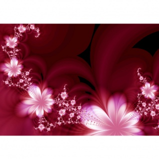 Fototapete Red Flower Ornaments Blumen Tapete Ornamente Blumen Orchidee Rot Blumenranke rot   no. 40