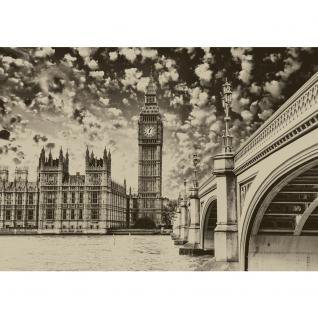 liwwing Vlies Fototapete 208x146cm PREMIUM PLUS Wand Foto Tapete Wand Bild Vliestapete - London Tapete Big Ben Brücke Wasser Himmel Vintage grau - no. 3061 - Vorschau 2