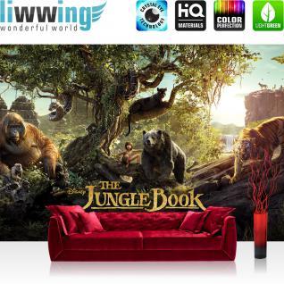 liwwing Fototapete 368x254 cm PREMIUM Wand Foto Tapete Wand Bild Papiertapete - Disney Tapete Dschungelbuch The Jungle Book Kindertapete Animation Balu Tiere braun - no. 1911