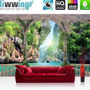 liwwing Vlies Fototapete 312x219cm PREMIUM PLUS Wand Foto Tapete Wand Bild Vliestapete - Meer Tapete Terrasse Wasser Meer Felsen Klippen Bäume Ranken Säulen türkis - no. 1458