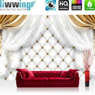 liwwing Vlies Fototapete 208x146cm PREMIUM PLUS Wand Foto Tapete Wand Bild Vliestapete - Ornamente Tapete Gardine Vorhang Bordüre Blumen gold - no. 2812