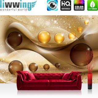 liwwing Fototapete 368x254 cm PREMIUM Wand Foto Tapete Wand Bild Papiertapete - Ornamente Tapete Kugel Perlen Streifen Spiegelung braun - no. 2032