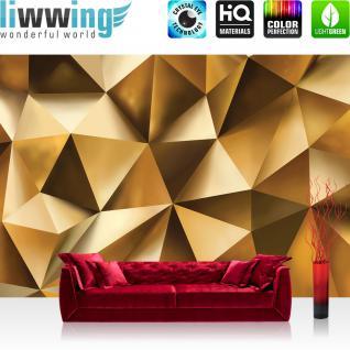 liwwing Vlies Fototapete 312x219cm PREMIUM PLUS Wand Foto Tapete Wand Bild Vliestapete - Kunst Tapete Dreiecke Kunst Abstrakt gold - no. 2165