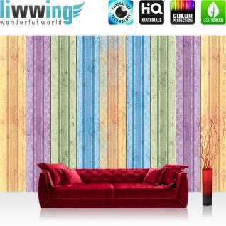 liwwing Vlies Fototapete 400x280 cm PREMIUM PLUS Wand Foto Tapete Wand Bild Vliestapete - Illustrationen Tapete Holzwand Streifen bunt Grafiken - no. 420