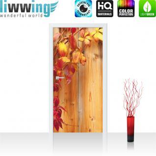 liwwing Türtapete selbstklebend 91x211 cm PREMIUM PLUS Tür Fototapete Türposter Türpanel Foto Tapete Bild - Holz Blätter - no. 532