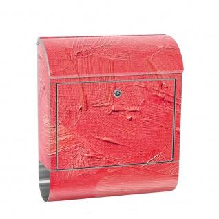 Edelstahl Wandbriefkasten XXL mit Motiv & Zeitungsrolle | Wischtechnik Spachtel Hintergrund farbige pink | no. 0109