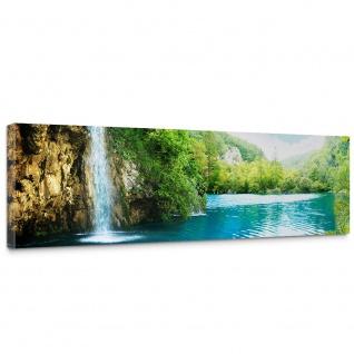 Leinwandbild Waterfall in Paradise Wasserfall Berge See Wald Bäume Landschaft | no. 35