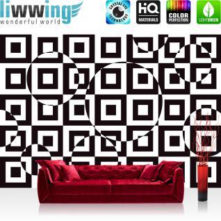 liwwing Vlies Fototapete 312x219cm PREMIUM PLUS Wand Foto Tapete Wand Bild Vliestapete - Kunst Tapete Kacheln Muster Design optische Täuschung Kreise schwarz weiß - no. 2436