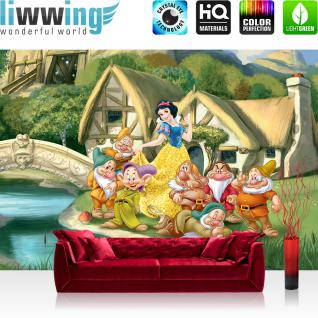 liwwing Vlies Fototapete 416x254cm PREMIUM PLUS Wand Foto Tapete Wand Bild Vliestapete - Disney Tapete Schneewittchen und die 5 Zwerge Kindertapete Cartoon Prinzessin bunt - no. 1082