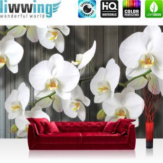 liwwing Vlies Fototapete 312x219cm PREMIUM PLUS Wand Foto Tapete Wand Bild Vliestapete - Orchideen Tapete Blumen Blüten Orchideen Holz Holzoptik weiß - no. 2885