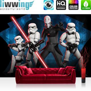 liwwing Vlies Fototapete 416x254cm PREMIUM PLUS Wand Foto Tapete Wand Bild Vliestapete - Cartoon Tapete STAR WARS Storm Trooper Laserschwert Kindertapete schwarz - no. 2593