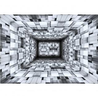 Fototapete 3D Tapete Optik Muster Kacheln Rechtecke Abstrakt Illustration schwarz weiß | no. 1262